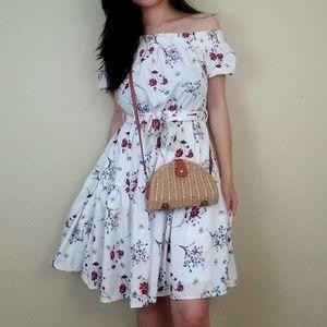 Off-Shoulder Floral Summer Mini Dress